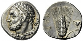 The M.L. Collection of Coins of Magna Graecia and Sicily   Metapontum  Nomos circa 290-280, AR 7.91 g. Bearded head of Heracles l., wearing taenia an...