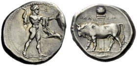 The M.L. Collection of Coins of Magna Graecia and Sicily   Poseidonia  Nomos circa 400, AR 7.84 g. Poseidon standing r.; chlamys over shoulder, brand...