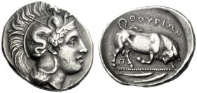 The M.L. Collection of Coins of Magna Graecia and Sicily   Thurium  Dinomos circa 350-300, AR 15.90 g. Head of Athena r., wearing Attic helmet decora...