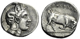 The M.L. Collection of Coins of Magna Graecia and Sicily   Thurium  Nomos circa 375-350, AR 7.69 g. Head of Athena r., wearing Attic helmet decorated...