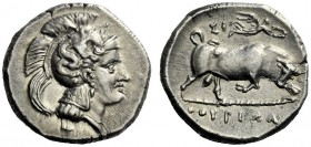 The M.L. Collection of Coins of Magna Graecia and Sicily   Thurium  Nomos circa 300-280, AR 7.88 g. Head of Athena r., wearing Attic helmet decorated...