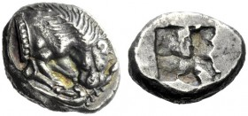 The M.L. Collection of Coins of Magna Graecia and Sicily   Velia  Drachm circa 535-465, AR 3.86 g. Forepart of lion r., tearing stag's leg. Rev. Irre...