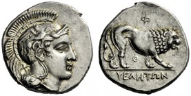 The M.L. Collection of Coins of Magna Graecia and Sicily   Velia  Nomos circa 340-334, AR 7.53 g. Head of Athena r., wearing Attic helmet decorated w...