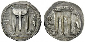 The M.L. Collection of Coins of Magna Graecia and Sicily   Bruttium, Caulonia  Nomos circa 500-480, AR 8.06 g. (koppa)ΡO Tripod with legs ending in l...