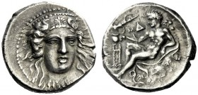 The M.L. Collection of Coins of Magna Graecia and Sicily   Bruttium, Caulonia  Nomos circa 380-350, AR 7.63 g. Head of Hera Lacinia facing, wearing d...