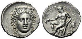 The M.L. Collection of Coins of Magna Graecia and Sicily   Croton  Nomos circa 380-350, AR 7.78 g. Head of Hera Lacinia facing, wearing decorated ste...