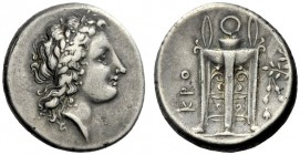 The M.L. Collection of Coins of Magna Graecia and Sicily   Croton  Nomos end of 4th century BC, AR 7.22 g. Laureate head of Apollo r. Rev. KPO Tripod...
