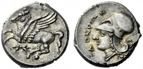 The M.L. Collection of Coins of Magna Graecia and Sicily   Croton  Corinthian stater circa 317-310, AR 8.77 g. Pegasus flying l.; below, thunderbolt....
