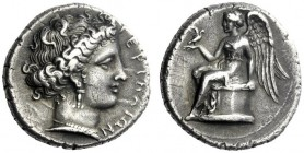 The M.L. Collection of Coins of Magna Graecia and Sicily   Terina  Nomos circa 380-360, AR 7.49 g. TEPINAIΩN Female head r., hair rendered in elabora...