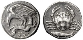 The M.L. Collection of Coins of Magna Graecia and Sicily   Sicily, Agrigentum  Hemidrachm circa 410-406, AR 2.02 g. AK – PA Eagle flying l., holding ...