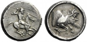 The M.L. Collection of Coins of Magna Graecia and Sicily   Gela  Didrachm circa 490-480, AR 8.75 g. Horseman galloping r., hurling javelin. Rev. Fore...