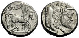 The M.L. Collection of Coins of Magna Graecia and Sicily   Gela  Tetradrachm circa 480-470, AR 17.15 g. Slow quadriga driven r. by charioteer holding...
