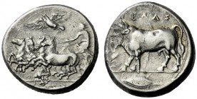 The M.L. Collection of Coins of Magna Graecia and Sicily   Gela  Tetradrachm circa 415-405, AR 17.13 g. Fast quadriga driven l. by charioteer holding...