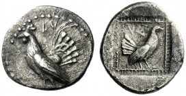 The M.L. Collection of Coins of Magna Graecia and Sicily   Himera  Didrachm circa 515-500, AR 5.42 g. LV Cockerel standing l. Rev. VΛ Hen standing r....
