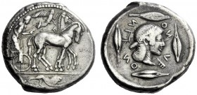 The M.L. Collection of Coins of Magna Graecia and Sicily   Leontini  Tetradrachm circa 465, AR 17.19 g. Slow quadriga driven r. by charioteer, holdin...