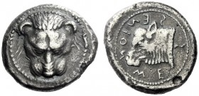 The M.L. Collection of Coins of Magna Graecia and Sicily   Messana  Tetradrachm circa 488-481, AR 16.96 g. Lion's mask facing. Rev. ME - Σ - Σ - ENIO...