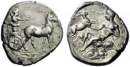 The M.L. Collection of Coins of Magna Graecia and Sicily   Messana  Tetradrachm circa 420-413, AR 17.13 g. MEΣΣANA Slow biga of mules driven r. by ch...