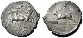 The M.L. Collection of Coins of Magna Graecia and Sicily   Messana  Tetradrachm circa 412-408, AR 16.43 g. Slow biga of mules driven l. by female cha...