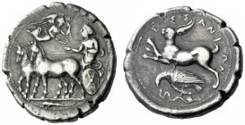 The M.L. Collection of Coins of Magna Graecia and Sicily   Messana  Tetradrachm circa 412-408, AR 17.11 g. Slow biga of mules driven l. by female cha...