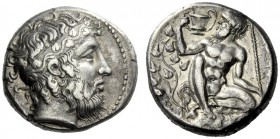 The M.L. Collection of Coins of Magna Graecia and Sicily   Naxos  Tetradrachm, circa 415, AR 17.07 g. Bearded head of Dionysus r., hair bound with st...