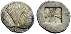 The M.L. Collection of Coins of Magna Graecia and Sicily   Selinus  Didrachm circa 530-500, AR 9.13 g. Selinon leaf; at base of stem, two pellets. Re...