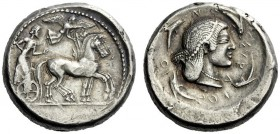 The M.L. Collection of Coins of Magna Graecia and Sicily   Syracuse  Tetradrachm circa 485-480, AR 17.37 g. Slow quadriga driven r. by bearded chario...