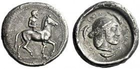 The M.L. Collection of Coins of Magna Graecia and Sicily   Syracuse  Didrachm circa 480, AR 8.23 g. Horseman r. Rev. SVRA – KOS – ION Pearl-diademed ...