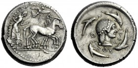 The M.L. Collection of Coins of Magna Graecia and Sicily   Syracuse  Tetradrachm circa 480-475, AR 17.27 g. Slow quadriga driven r. by bearded chario...