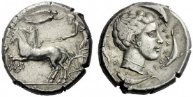 The M.L. Collection of Coins of Magna Graecia and Sicily   Syracuse  Tetradrachm circa 440-430, AR 17.41 g. Prancing quadriga driven l. by charioteer...
