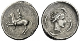 The M.L. Collection of Coins of Magna Graecia and Sicily   Syracuse  Didrachm circa 440-430, AR 8.26 g. Horseman on prancing horse l., with mantle fl...