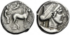 The M.L. Collection of Coins of Magna Graecia and Sicily   Syracuse  Tetradrachm circa 430, AR 17.34 g. Slow quadriga driven r. by charioteer holding...