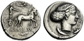 The M.L. Collection of Coins of Magna Graecia and Sicily   Syracuse  Tetradrachm circa 420-415, AR 17.70 g. Slow quadriga driven r. by charioteer, ho...