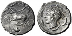 The M.L. Collection of Coins of Magna Graecia and Sicily   Syracuse  Tetradrachm circa 415-405, AR 16.41 g. Prancing quadriga driven l. by charioteer...