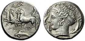 The M.L. Collection of Coins of Magna Graecia and Sicily   Syracuse  Tetradrachm signed by Eukleidas circa 405-400, AR 17.26 g. Fast quadriga driven ...