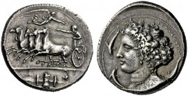 The M.L. Collection of Coins of Magna Graecia and Sicily   Syracuse  Decadrachm unsigned work by Kimon circa 404-400, AR 43.20 g. Quadriga at speed w...