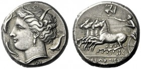 The M.L. Collection of Coins of Magna Graecia and Sicily   Syracuse  Tetradrachm circa 310-305, AR 16.85 g. Head of Persephone l., wearing barley wre...