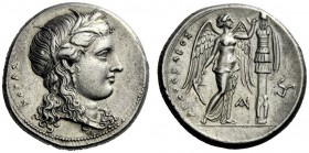 The M.L. Collection of Coins of Magna Graecia and Sicily   Syracuse  Tetradrachm, 310-305 under Agathocles (2nd period), AR 17.03 g. KOPAS Head of Ko...