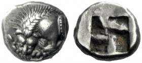 The J. FALM Collection: Miniature Masterpieces of Greek Coinage depicting Animals   Gaul, Massalia  Obol circa 495-470, AR 0.93 g. Forepart of lion l...