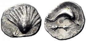The J. FALM Collection: Miniature Masterpieces of Greek Coinage depicting Animals   Calabria, Tarentum  Obol (?) circa 325-280, AR 0.52 g. Cockle she...