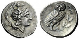 The J. FALM Collection: Miniature Masterpieces of Greek Coinage depicting Animals   Calabria, Tarentum  Drachm circa 280-272, AR 3.26 g. Head of Athe...