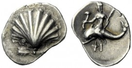 The J. FALM Collection: Miniature Masterpieces of Greek Coinage depicting Animals   Calabria, Tarentum  Obol circa 275-250, AR 0.69 g. Cockle shell. ...