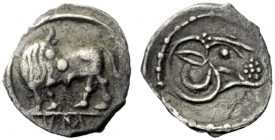The J. FALM Collection: Miniature Masterpieces of Greek Coinage depicting Animals   Sybaris  Obol before 510, AR 0.28 g. Bull standing l. looking bac...