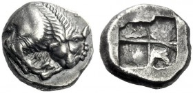The J. FALM Collection: Miniature Masterpieces of Greek Coinage depicting Animals   Velia  Drachm circa 535-510, AR 3.77 g. Forepart of lion r., tear...
