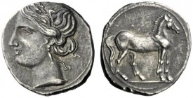 The J. FALM Collection: Miniature Masterpieces of Greek Coinage depicting Animals   Bruttium, The Brettii  ¼ shekel 216-211, AR 1.95 g. Head of Tanit...