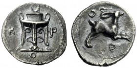 The J. FALM Collection: Miniature Masterpieces of Greek Coinage depicting Animals   Croton  Diobol circa 360, AR 0.71 g. K – P at sides of tripod; in...