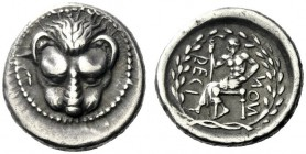 The J. FALM Collection: Miniature Masterpieces of Greek Coinage depicting Animals   Rhegium  Drachm circa 450-445, AR 4.27 g. Lion's scalp facing. Re...
