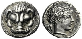 The J. FALM Collection: Miniature Masterpieces of Greek Coinage depicting Animals   Rhegium  Drachm 415/410-387, AR 4.31 g. Lion's scalp facing. Rev....