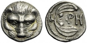 The J. FALM Collection: Miniature Masterpieces of Greek Coinage depicting Animals   Rhegium  Litra 415/410-387, AR 0.66 g. Lion's scalp facing. Rev. ...