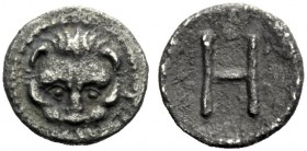 The J. FALM Collection: Miniature Masterpieces of Greek Coinage depicting Animals   Rhegium  Hemilitra 415/410-387, AR 0.26 g. Lion's scalp facing. R...
