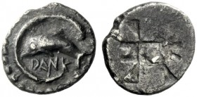 The J. FALM Collection: Miniature Masterpieces of Greek Coinage depicting Animals   Zancle-Messana  Litra circa 515-493, AR 0.69 g. DANK Dolphin swim...